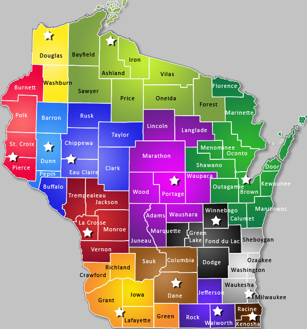 map of Wiscons Area Research Centers