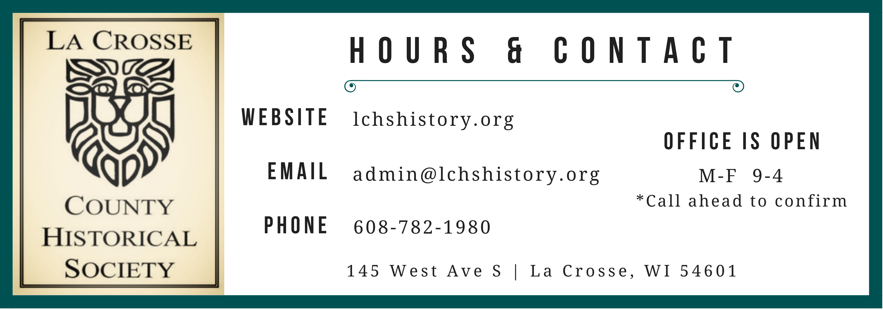 La Crosse County Historical Society logo and contact information